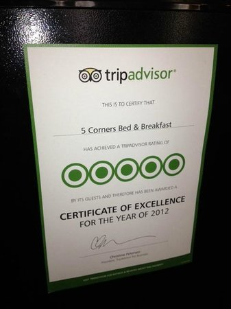5 Corners Bed &amp; Breakfast: Awareded 5 Stars from Trip Advisor in 2012