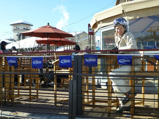 Trailhead Lodge by Steamboat Resorts:                   Drinks on the terrace at the top of the Trailhead Gondola