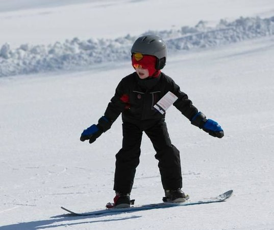 Timber Ridge Lodge & Waterpark:                   My 7-year-old snowboarding for the first time!