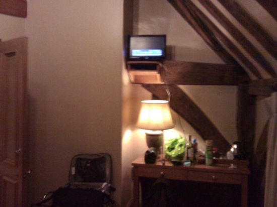 The Greyhound Inn:                   Tiny TV only operable by standing on bed with remote