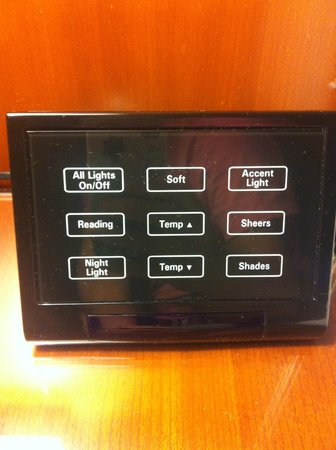 Grand Hyatt DFW:                   Modern control panel by the bed; very cool