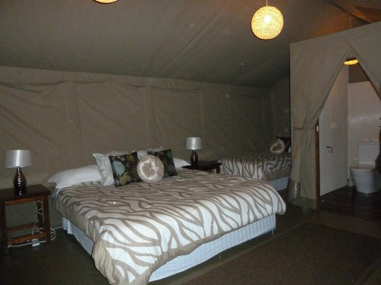 Wildebeest Eco Camp: Inside the deluxe safari tent