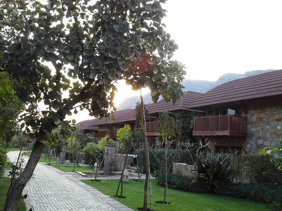 Ananta Spa & Resorts Pushkar:                   As the sun sets over the cottages!