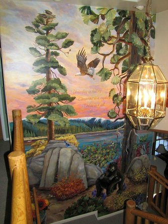 Alpenhorn Bed and Breakfast:                   Beautiful hand-painted mural in the staircase