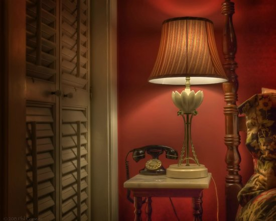 """Ballastone Inn:                                     Telephone table night stand in the """"Mary Musgrove"""" room"""