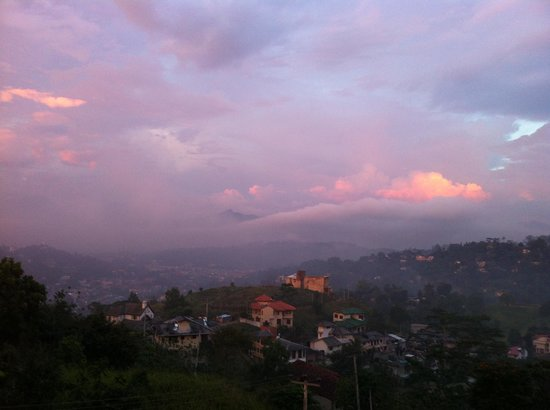 The Hills Lodge:                   View of sunset over Kandy