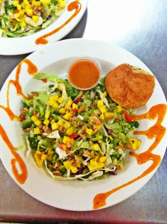 , :                   Mango crab cake salad