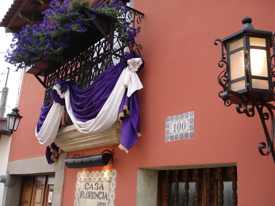 Casa Florencia Hotel: Our beautiful wrought iron balcony for Holy Week