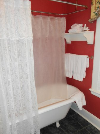 Pinecrest Bed and Breakfast:                   Claw foot bathtub/shower