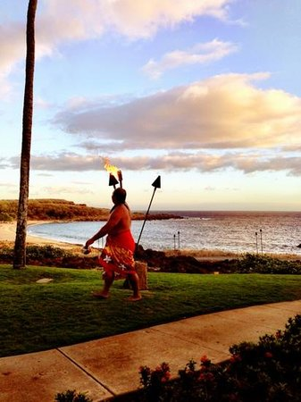 Four Seasons Resort Lana'i at Manele Bay:                   lighting of the tiki torches