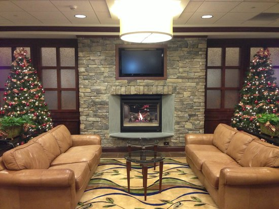Holiday Inn Express Hotel & Suites Wilmington-Newark:                   Hotel lobby fireplace