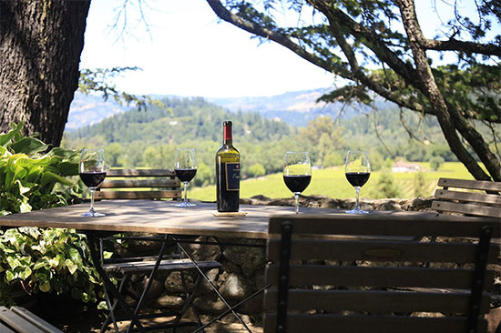 View from the Patio at St. Clement, Napa Valley