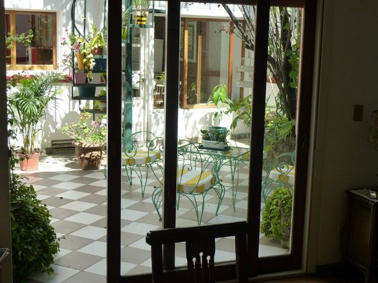 Chavi's Bed and Breakfast:                   Sliding door into Courtyard