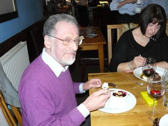 Newport-on-Tay, UK:                                     Caught on camera enjoying his personalized pudding!