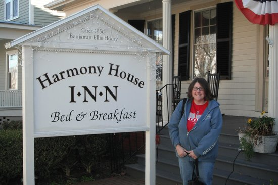 Harmony House Inn:                   My wife outside next to the happy-looking signage.