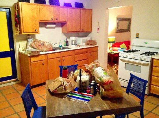 Fite Ranch Bed & Breakfast:                   The Evelyn Fite Suite Kitchen (sorry about our groceries on the table!)