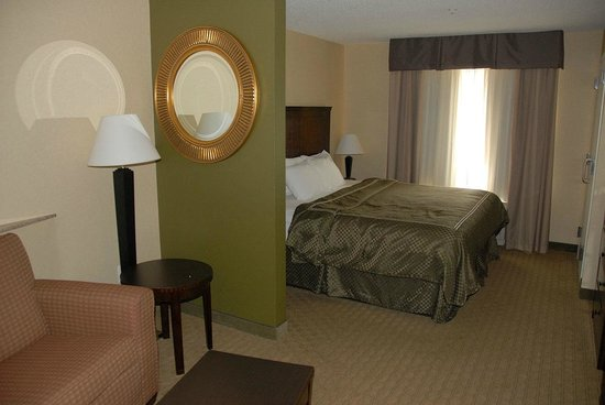Comfort Suites:                                     Bed and sofa area