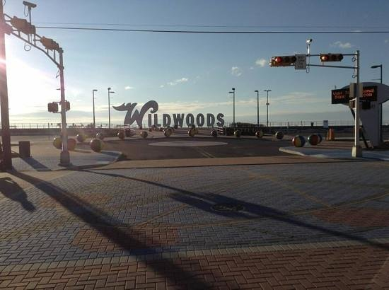 The StarLux is directly across the street from the Wildwoods sign and the beac