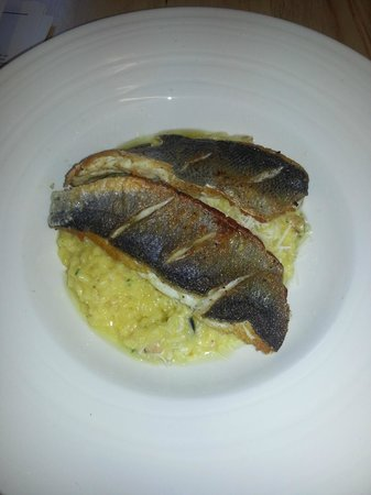 Tideswell, UK:                   Crispy Sea Bass with Saffron & Smoked Mussel Risotto