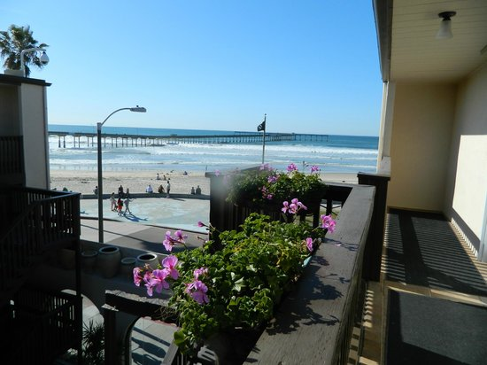 Ocean Beach Hotel:                   stepping onto balcony walkway from room