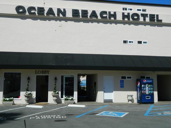 Ocean Beach Hotel:                   front view of hotel from parking lot from Newport street