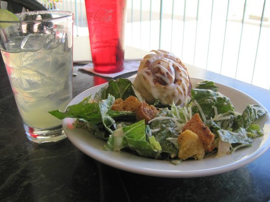 Macs On Main:                   Caesar Salad with cinnamon roll and Margarita