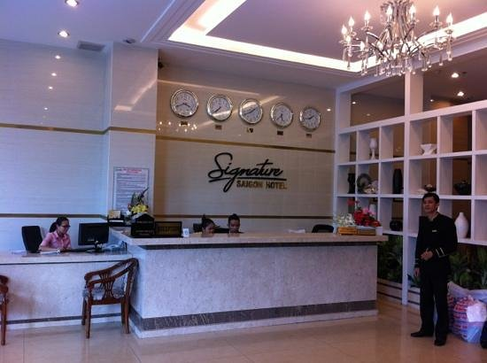                   The friendly staff at the front desk of the Signature Saigon Hotel