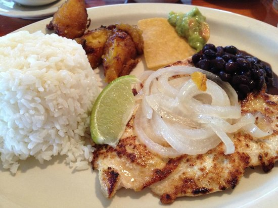 Fuego Latino Restaurant: Cuban style chicken with rice, black beans ...