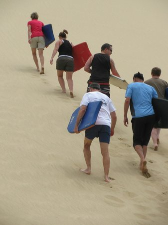 Paihia, New Zealand:                   walking up to the top of the sand dune