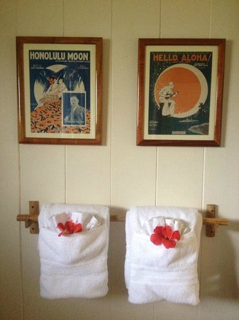 The Guest Houses at Malanai in Hana:                   Plush towels, vintage charm