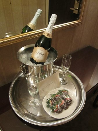 The Talbott Hotel:                   Champagne & Chocolate Covered Strawberries in Entry of One Bedroom King Suite