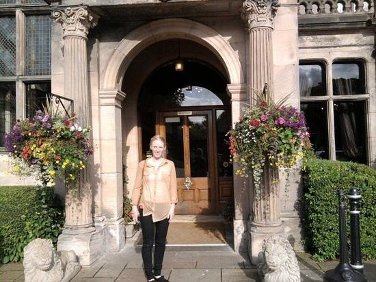 Rookery Hall Hotel & Spa:                   my wife at the main entrance.