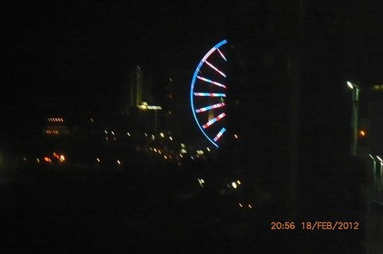 Dayton House Resort:                   The skywheel from our balcony at night