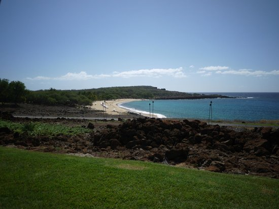 Four Seasons Resort Lana'i at Manele Bay:                   View from the pool to the beach