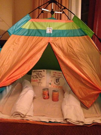 Four Seasons Resort Vail:                   tent for kids in room upon arrival