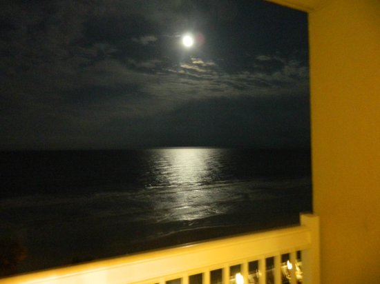 Daytona Beach Resort and Conference Center:                   Full moon and the beach from our balcony (little blurry)
