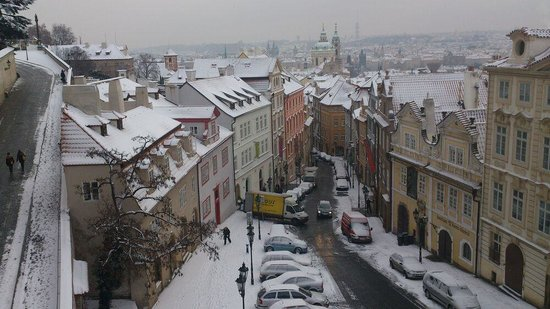 View from golden star hotel overlooking nerudova mala for Best hotels in mala strana prague