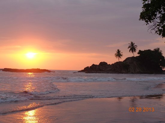 Coconut Grove Oceanfront Cottages:                   Sunset on Playa Dominicalito - right out our front door