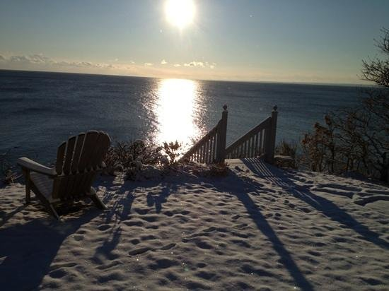 A Beach House Oceanfront Bed and Breakfast:                   sunrise on the snow.