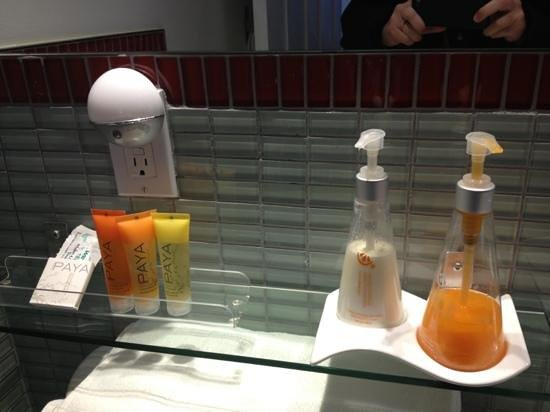 Swiss Hotel:                   Some of the bathroom amenities &amp; supplies.