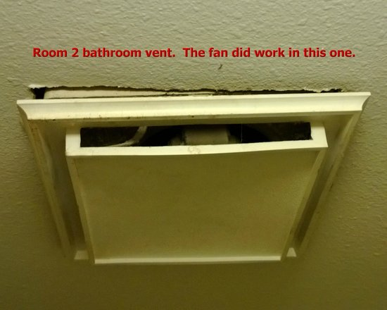 Howard Johnson New Braunfels:                   Vent falling out of ceiling in 2nd room.