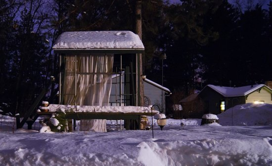 Peshtigo, WI:                   Long exposure shot at night of outdoor gazebo thing.