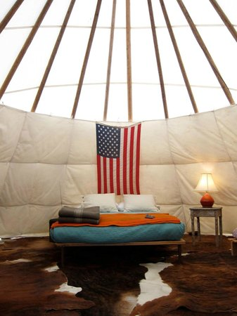 Marfa, TX:                   Inside the tee pee.