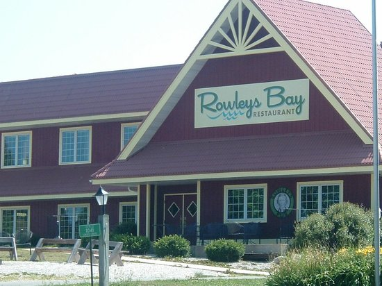 Rowley's Bay Cabins: front entrance of hotel, restaurant, bakery and pool area.