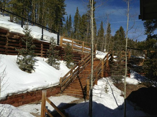 Skiway Lodge:                   The walkway from the back of the lodge, which comes down to the lodge and lead