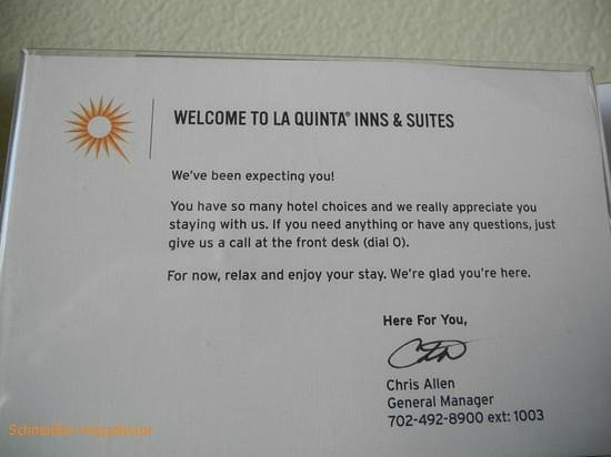 La Quinta Inn & Suites Las Vegas Airport South:                   Contact displayed in the room