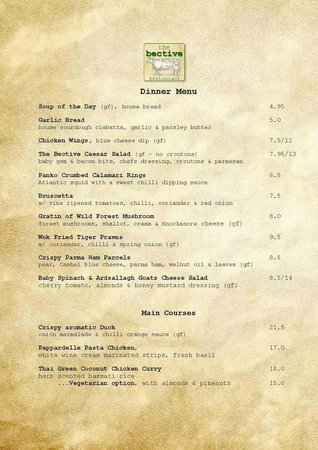 Kells, Irland: A La Carte Menu - Page One