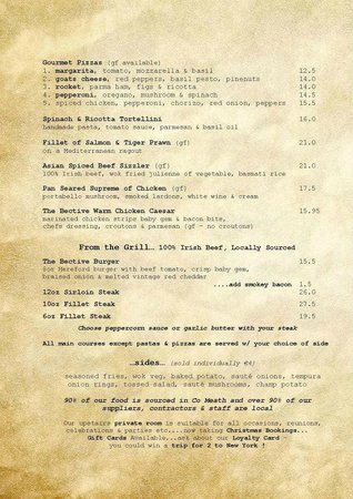 Kells, Irland: A La Carte Menu - Page Two