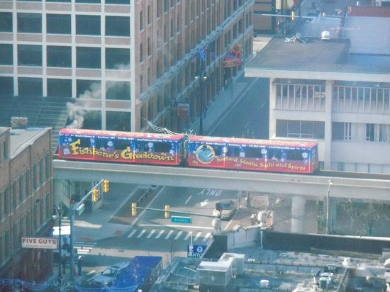 Greektown Casino Hotel:                   People mover passing by