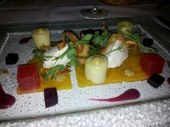 Stanley, UK:                   goats cheese mousse starter...yummy